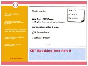 KET Speaking Test Part II • This part
