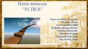 Наша команда «УСПЕХ» Капитан-Бойко Наталия Мозина Дарья Пылаева