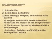 TOPIC 4. IDEOLOGY, RELIGION, AND POLITICS:  THE