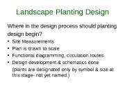 Landscape Planting Design Where in the design process