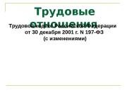Трудовые отношения. Трудовой кодекс Российской Федерации от 30