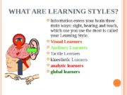 WHAT ARE LEARNING STYLES?  Information enters your