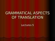 Презентация lect.5-6 GRAMMATICAL ASPECTS OF TRANSLATION