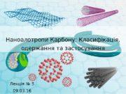 Наноалотропи Карбону: Класифікація,  одержання та застосування Лекція