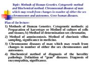 Topic: Methods of Human Genetics. Cytogenetic method and