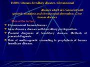 TOPIC: Human hereditary diseases.  Chromosomal