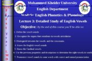 Mohammed Kheider University English Department Module: English Phonetics