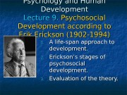 Презентация lecture 9 Psychosocial theory of Erikson