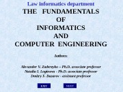 EXITLaw informatics department THE  FUNDAMENTALS OF INFORMATICS