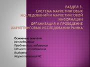 Раздел 3. Система маркетинговых исследований и маркетинговой информации