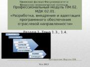 Профессиональный модуль ПМ. 02.  МДК 02. 01.