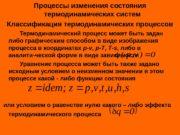 Процессы изменения состояния термодинамических систем Классификация термодинамических процессов