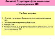 1 Лекция 6. Структурно-функциональное проектирование ИС Учебные вопросы: