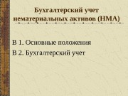 Бухгалтерский учет нематериальных активов (НМА) В 1. Основные
