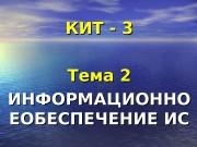 КИТ — 3 Тема 2 ИИ НФОРМАЦИОННО ЕОБЕСПЕЧЕНИЕ