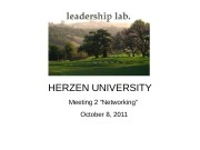 "HERZEN UNIVERSITY Meeting 2 ""Networking"" October 8, 2011"