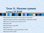 Тема 11. Нижние уровни стека TCP/IP  Взаимодействие