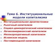 Тема 6. Институциональные модели капитализма 1. Институциональная архитектоника
