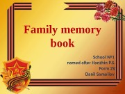 Family memory book School № 1 named after