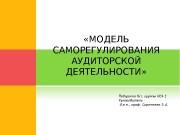 «МОДЕЛЬ САМОРЕГУЛИРОВАНИЯ АУДИТОРСКОЙ ДЕЯТЕЛЬНОСТИ»  ОБЩАЯ ХАРАКТЕРИСТИКА