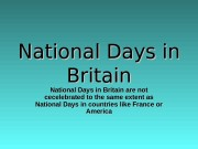 National Days in Britain National Days in Britain