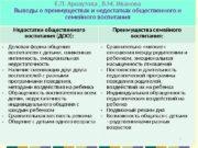 Е. П. Арнаутова , В. М. Иванова Выводы