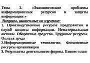 Тема  2. «Экономические  проблемы информационных