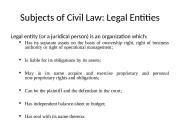 Презентация objects of Business law