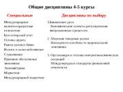 Общие дисциплины 4 -5 курсы Специальные Международные валютно-кредитные