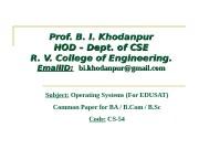 Prof. B. I. Khodanpur HOD – Dept. of