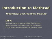Introduction to Mathcad Theoretical and Practical training Korchak