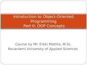 Course by Mr. Erkki Mattila, M. Sc. Rovaniemi