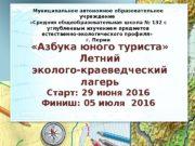 «Азбука юного туриста» Летний эколого-краеведческий лагерь Старт: