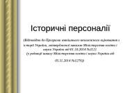 Історичні персоналії   (( Відповідно до Програми