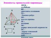 Элементы правильной пирамиды ABCD  — основание BD