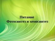 Презентация Питание клетки. Фотосинтез и Хемосинтез