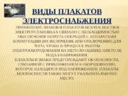 ВИДЫ ПЛАКАТОВ ЭЛЕКТРОСНАБЖЕНИЯ  ПРИМЕНЕНИЕ ЗНАКОВ И ПЛАКАТОВ