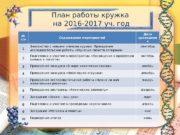План работы кружка на 2016 -2017 уч. год