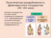 Политическая раздробленность Древнерусского государства  ( XII –
