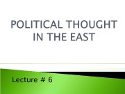 Lecture # 6  1. Emergence of Islam
