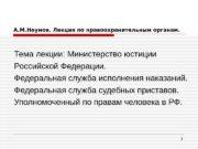 1 А. М. Наумов. Лекция по правоохранительным органам.
