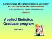 Luhansk Taras Shevchenko National University Applied Statistics Graduate