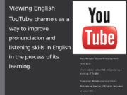 Viewing English Tou. Tube channels as a way
