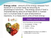 Energy value — amount of the energy released