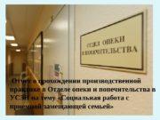 Отчет о прохождении производственной практике в Отделе опеки