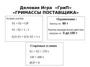 Деловая Игра  «Гри. П»  «ГРИМАССЫ ПОСТАВЩИКА»
