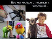 Все мы хорошо относимся к животным…  …