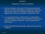 30. 01. 16 11 Deposition of Silicon Nitrides