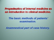 Propedeutics of internal medicine as an introduction to