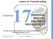 Marketing, lecture 13 ass. prof. I. I. Skorobogatykh